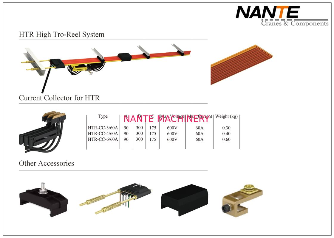 HTR High Tro Reel Conductor Rail System With Current Capacity From 50A To 140A Of 3,4,6 Poles